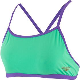 speedo ElectricStripe Allover Tie-Back Crop Top Women green glow/ultra violet